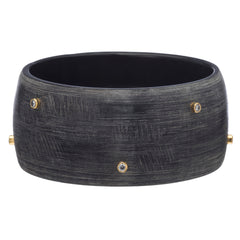 Matt Dark Gray Bangle With Scattered Crystal