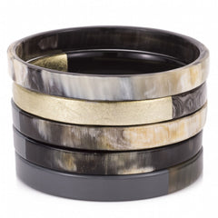 Buffalo horn set of 5 bangles, Charcoal, Gold, Natural