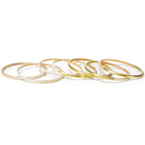 Buffalo Horn Bangle Set With Gold Accents