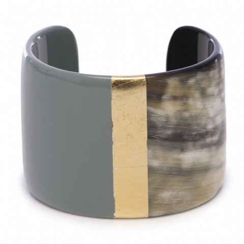 Buffalo horn cuff with lacquer