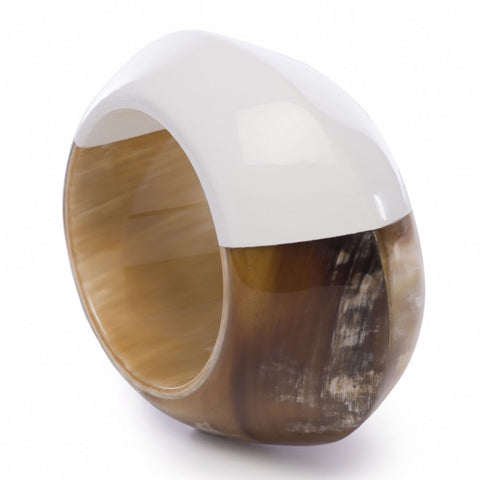Wide Hollow Bangle With White Lacquer