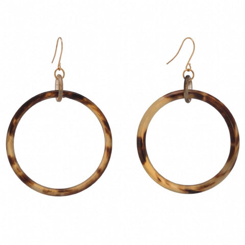 Buffalo Horn Hoop Earring On Gold Plated Wires