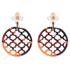 Carved dark buff horn lattice earring