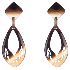 Honey Horn Carved Drop Earring