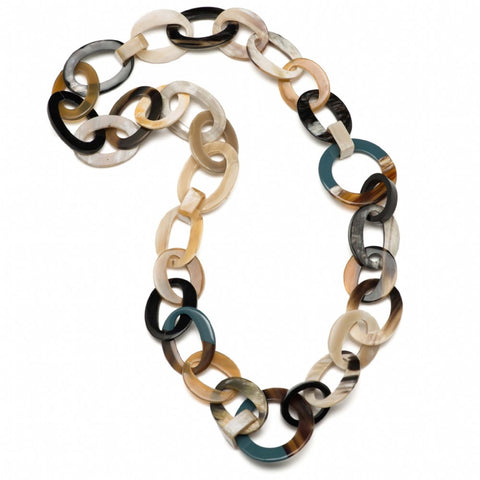 Buffalo Horn Mixed Link Necklace With Lacquer