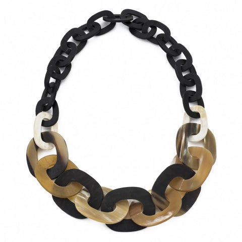 Matte Black and Natural Chunky Horn Links