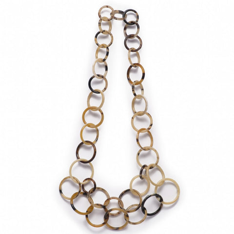 Buffalo Horn Faux Double Circle Link Necklace