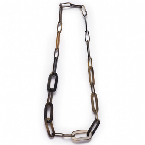 Buffalo Horn Paper Clip Link Necklace