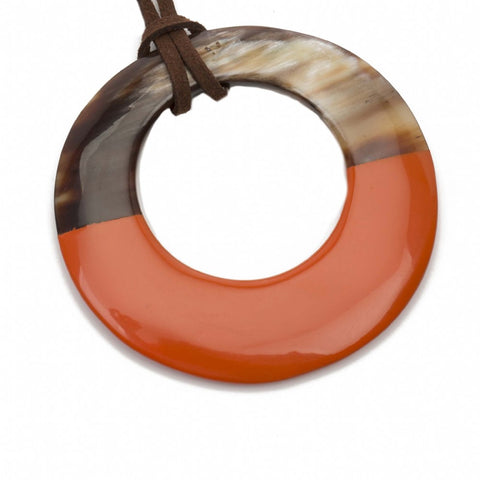 Buffalo Horn Pendant with Lacquer-Poppy
