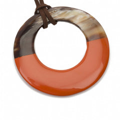 Buffalo Horn Pendant With Poppy Lacquer