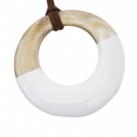 Horn Pendant with White Lacquer