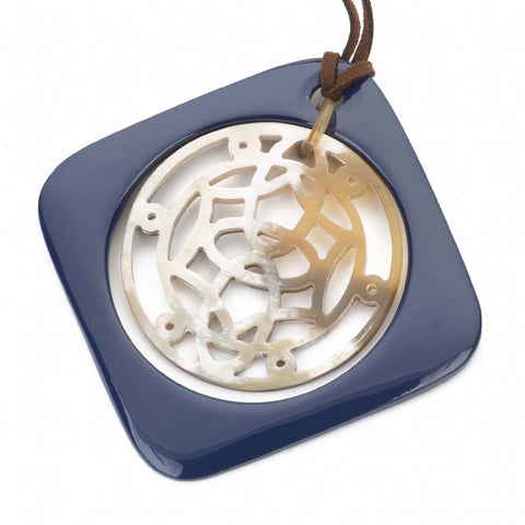 Buffalo Horn Square Pendant, Moveable Center & Navy Lacquer