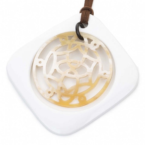 Buffalo Horn Square Pendant, Moveable Center & White Lacquer