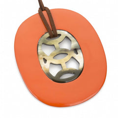 Buffalo Horn Oval Pendant And Poppy Lacquer