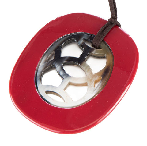Buffalo Horn Oval Pendant With Lacquer Edge