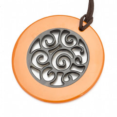 Buffalo Horn Circle Pendant,  Carved Center,  Poppy Lacquer