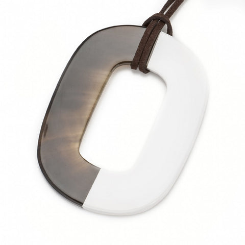 Buffalo Horn Flat Oval Pendant, Half White Lacquer