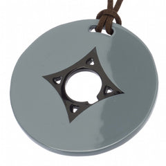 Blue Gray Circle Pendant Horn Center