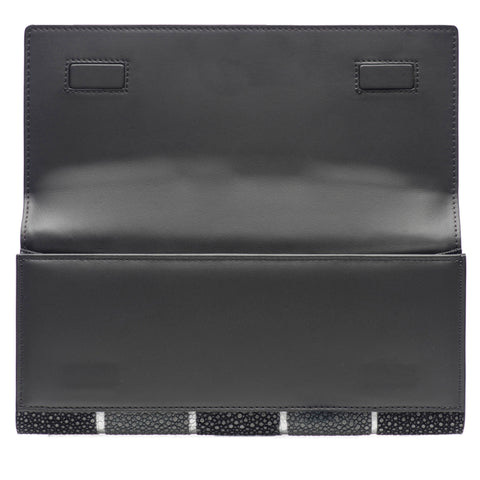 Cleo- Genuine shagreen clutch bag-Black stripe