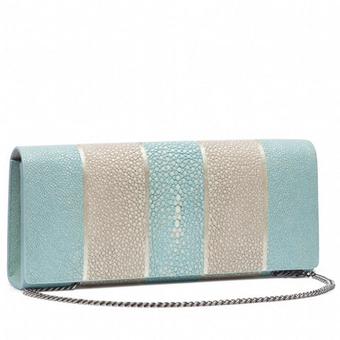 Cleo- Genuine shagreen clutch bag-Sky stripe