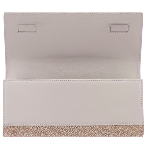Cleo- Genuine shagreen clutch bag-Taupe