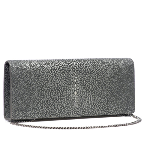 Cleo- Genuine shagreen clutch bag-Gray