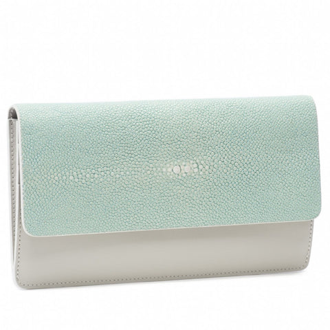 Maya- Shagreen and Napa leather zip back wallet or clutch-Sky