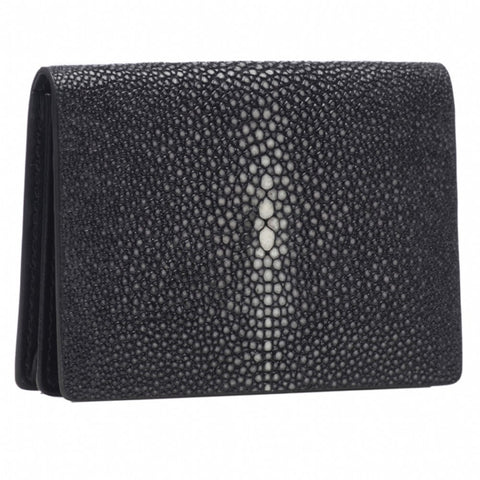 Taylor-Shagreen and Napa leather card case-Black