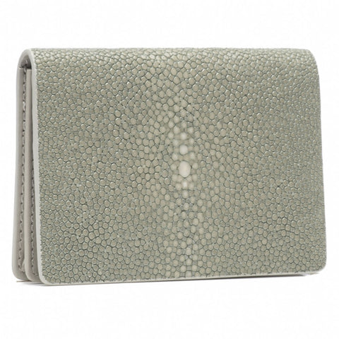 Taylor-Shagreen and Napa leather card case-Cement