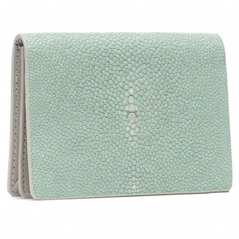 Taylor-Shagreen and Napa leather card case-Sky