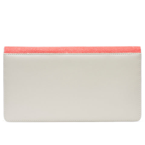 Bea II-Shagreen and Napa leather wallet or clutch-Hibiscus
