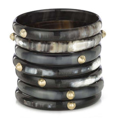 Set of 7 Dark Buffalo Horn Cuffs with Conical Studs Main Image