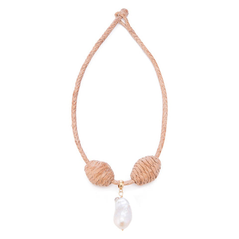 Leather Cord+ Bead  16, Lg Baroque Pearl
