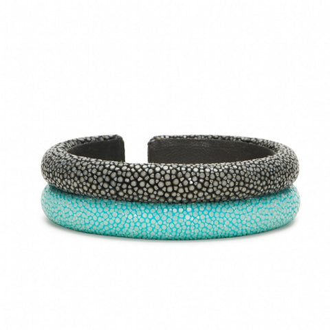 Double Raised Bands Bracelet-Aqua/Gray