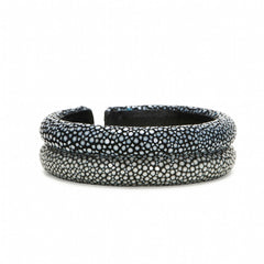 Double Raised Bands Bracelet-Black/Gray