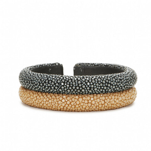 Double Raised Bands Bracelet-Gray/Latte