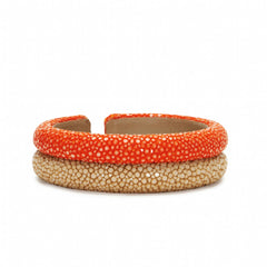 Double Raised Bands Bracelet-Orange/Latte