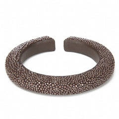 Narrow flexible shagreen cuff- Chocolate