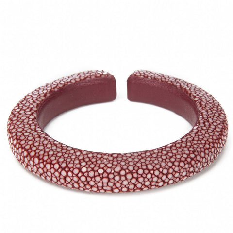 Narrow flexible shagreen cuff- Garnet