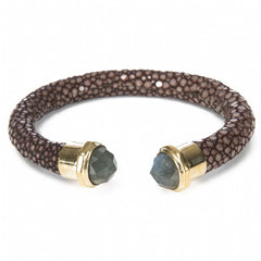 Shagreen Cuff Gold and Labradorite Ends, Chocolate