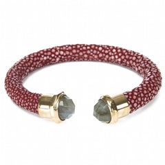 Shagreen Cuff Gold and Labradorite Ends, Garnet