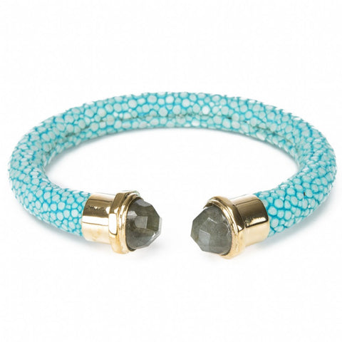 Shagreen Cuff Gold and Labradorite Ends, Turquoise