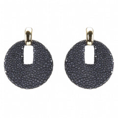 Shagreen Disk  With Gold Cap, Black