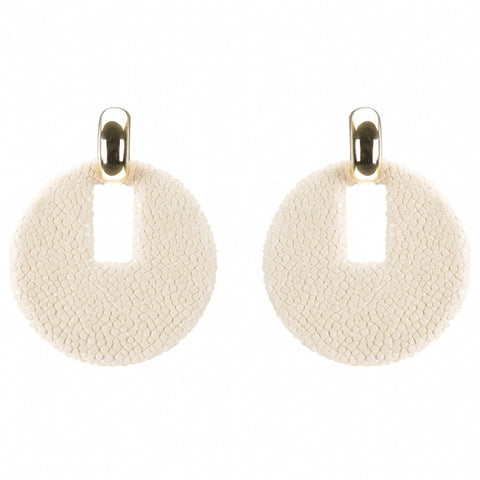 Shagreen Disk  With Gold Cap, Ivory