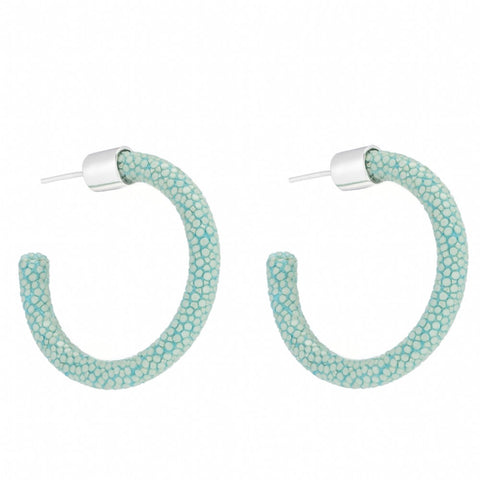 Small Genuine Shagreen Hoop-Aqua