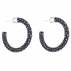 Small Genuine Shagreen Hoop-Black