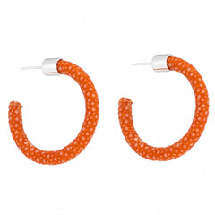 Small Genuine Shagreen Hoop-Orange