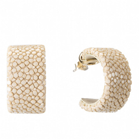 Shagreen Hoop With Gold Cap, Latte