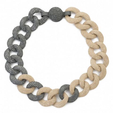 Genuine Shagreen Curb Link Necklace - Latte + Gray
