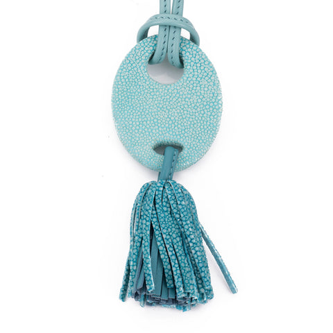 Adjustable shagreen and leather tassel pendant necklace-Aqua